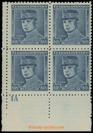 209978 - 1939 Sy.1, Blue Štefánik 60h, LL corner blk-of-4 with plate