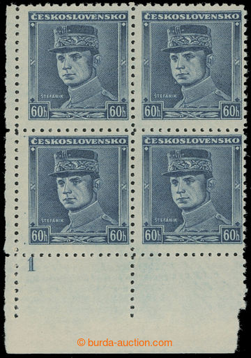 209981 - 1939 Sy.1, Blue Štefánik 60h, LL corner blk-of-4 with plate
