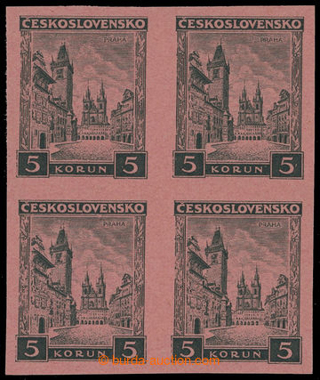 210054 - 1929 PLATE PROOF Pof.256, Prague 5CZK, imperforated plate pr