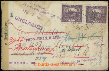210064 - 1919-1920 dopis do USA vyfr. 2-páskou 25h fialová, DR BRATIS