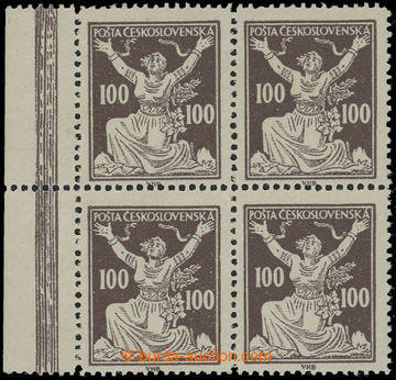 210086 -  Pof.158B, 100h hnědá, 4-blok s levým okrajem, ŘZ 13¾;