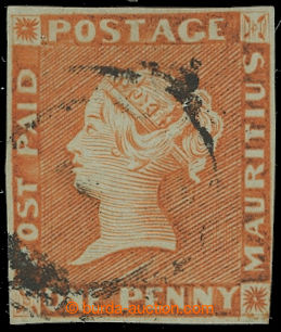 210104 - 1848-1859 SG.7, POST PAID ONE PENNY RED - orange vermilion,