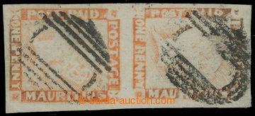 210115 - 1848-1859 SG.23, svislá (!) 2-páska POST PAID ONE PENNY RE