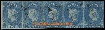 210123 - 1857 SG.2, vodorovná 5-páska Viktorie (P. Bacon) 1P modrá; b
