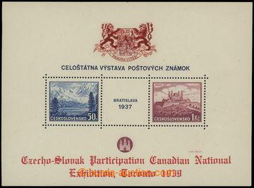 210134 - 1939 ZT  aršík Bratislava 1937, přítisk Toronto 1939, č