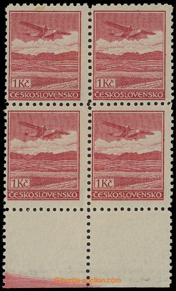 210143 -  Pof.L8A, Definitivní vydání 1Kč červená, 4-blok s dolním ok
