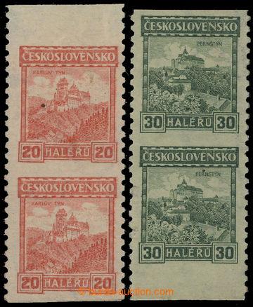 210181 - 1926 Pof.209A,210A, Hrady 20h oranžová + 30h zelená, svis