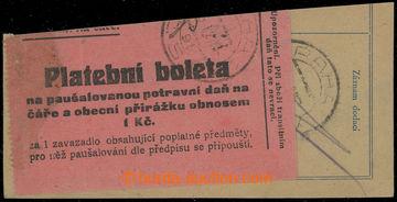 210196 - 1921 BOLETA / Pof.PN1, Platební boleta 1Kč růžová, vylepena