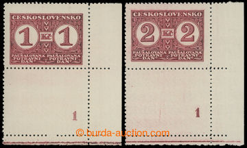 210198 - 1935 Pof.PD9-10B, Definitivní vydání, hodnoty 1Kč a 2Kč s pe