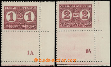 210200 - 1935 Pof.PD9-10B, Definitivní vydání, hodnota 1Kč a 2Kč s pe