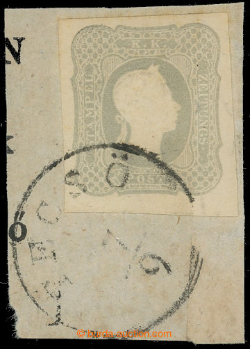 210583 - 1861- TECSÖ / small/rare cut square with newspaper 1.05Kr gr