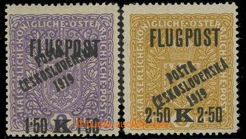 210619 -  Pof.52II, 53, Air FLUGPOST 1,50 Koruna / 2 Koruna violet ty