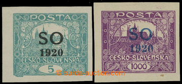 210656 -  Pof.SO3 + SO23, Hradčany 5h blue-green and 1000h violet imp