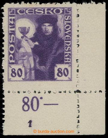 210671 -  Pof.162 DČ, 80h fialová, levý dolní rohový kus s DČ 1; lehk