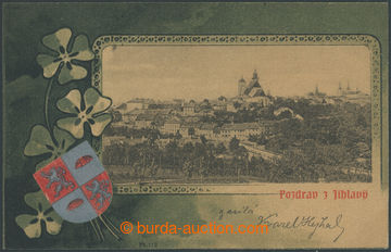210704 - 1902 JIHLAVA - collage view of town with  by coat of arms an