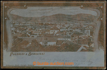 210711 - 1902 BEROUN - tisk na zlaté fólii, celkový pohled, DA; pr