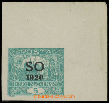210791 -  Pof.SO3, Hradčany 5h blue-green imperforated, UR corner pie