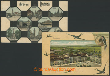 210813 - 1902-1908 ČESKÉ BUDĚJOVICE - sestava 2ks, 1x barevná lito ko