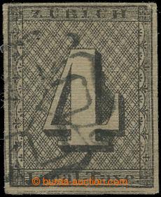 210818 - 1843 ZÜRICH / Mi.1II, 4Rp Local Taxe, 3. ZNÁMKA SVĚTA; vzácn