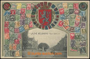 210826 - 1909 LÁZNĚ BĚLOHRAD -  Velké náměstí, koláž s erby a poštovn