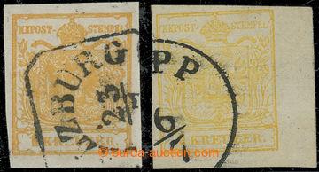 210901 - 1850 Ferch.1HIa ,1MIII, 2x Znak 1Kr I. typ ruční papír oranž