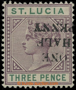 210934 - 1891-1892 SG.56b, přetisková Viktorie ½P/3P dull mauve