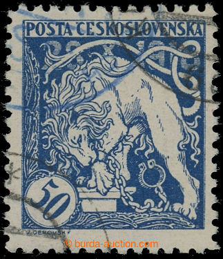 210973 -  Pof.29E(q), Lev trhající okovy 50h modrá, ŘZ 10½, s čá