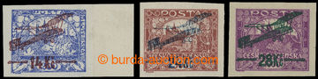 210990 -  Pof.L1-L3, I. provisional air mail stmp., imperforated set,