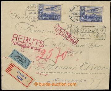 211014 - 1939 R+Let-dopis zaslaný do Argentiny, vyfr. leteckými zn. 2
