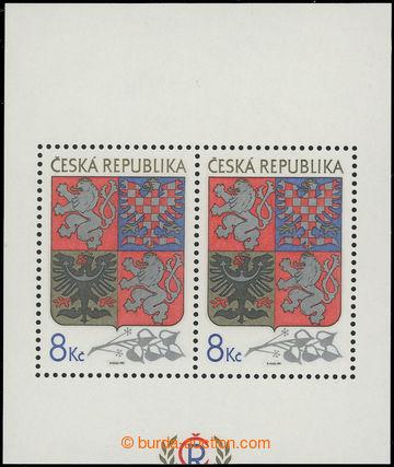 211057 - 1993 Pof.A10VV, aršík Velký státní znak, odlišný ořez, pole