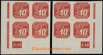 211068 - 1943 Pof.NV14, 10h červená (II. vydání), pravý a levý