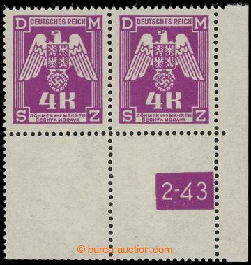 211069 - 1943 Pof.SL23, 4K fialová (II. vydání), pravý dolní roh