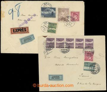 211153 - 1939 sestava 2ks Let-dopisů adresovaných do Paříže, 1x dopis