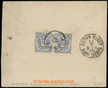211214 - 1886 Ex-dopis vyfr. na zadní straně 2-páskou Orlice 10Kr,