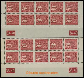 211233 - 1939 Pof.DL3, 20h červená, 2x dolní 10-pás s DČ 3A-40, kombi