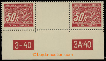 211260 - 1939 Pof.DL6, 50h červená, 2-zn. trhané meziarší s DČ 3-40 /