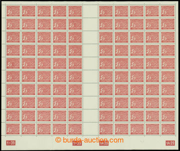 211261 - 1939 ARCHOVINA / Pof.DL1, 5h červená, kompletní 100ks arch (