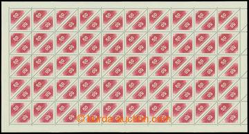 211273 - 1937 Pof.DR2C, Doruční 50h červená, kompletní 100ks arch s H
