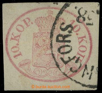 211284 - 1858 Mi.2x, Znak 10K karmínová s DR HELSINGFORS; zk. Bühler,