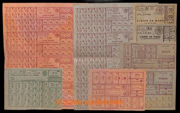 211306 - 1945-1947 POTRAVINOVÉ LÍSTKY sestava 16ks kompletních archů