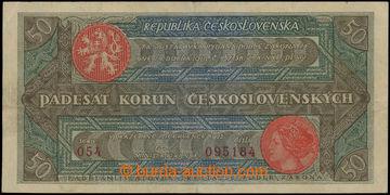 211309 - 1922 Ba.19b, 50Kč Rozsévač, série 054, číslo 095184; bez nat