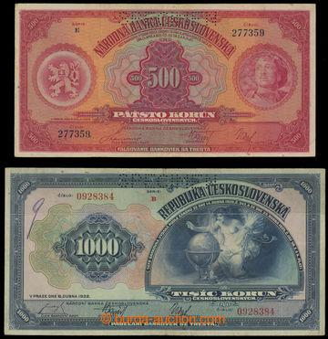 211314 - 1929 Ba.23c + Ba.26  500Kč 1929, série E + 1000Kč 1932, séri