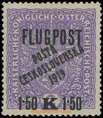 211330 -  Pof.52II, Air FLUGPOST 1,50 Koruna / 2 Koruna violet, wide,