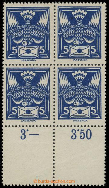 211356 -  Pof.143A, 5h modrá, dolní 4-blok s 2 kupony ve velikosti zn