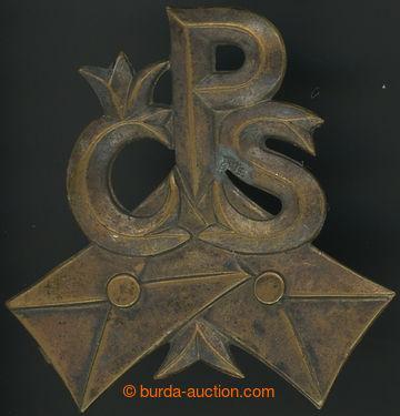 211368 - 1920 POŠTA / čepicový odznak zaměstnanců pošty, monogram ČSP