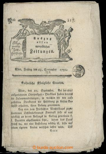 211465 - 1791 RAKOUSKO / NOVINOVÉ SIGNETY noviny Allgemeine Zeitgesc