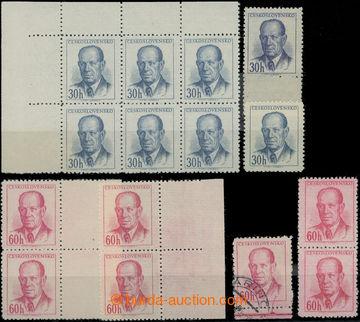 211710 - 1953 Pof.740B, 741, Zápotocký, sestava odstínů, hodnota 30h