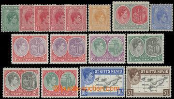 211753 - 1938-1950 SG.68-77, Jiří VI. ½P - £1; kompletní série,