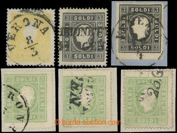 211784 - 1858 Mi.6II, 7II(2x), 8II, FJ I. 2So žlutá, 3So černá 2x  z