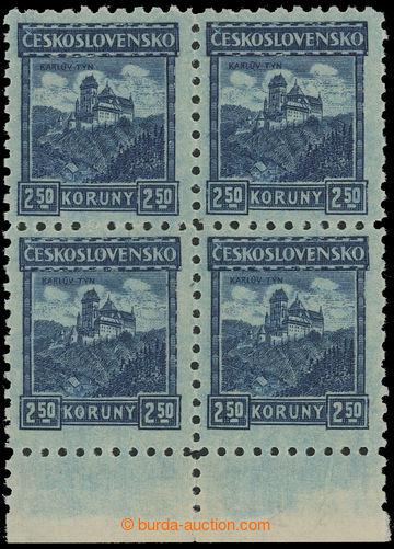 211913 - 1926 Pof.215 P6, Karlštejn 2,50Kč modrá, dolní 4-blok s
